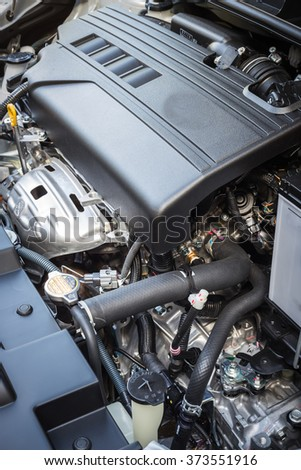 Close up detail of new car engine