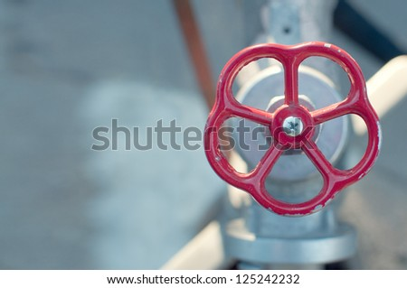 Close up detail of old water valve, shallow depth of field. - stock photo