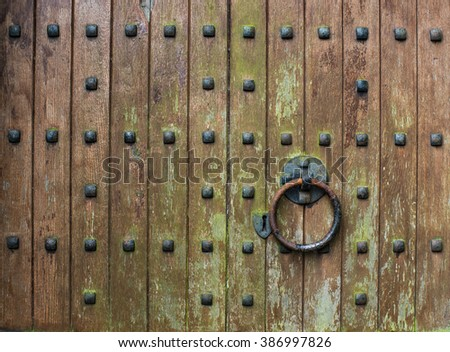 close up detail of old wooden church door