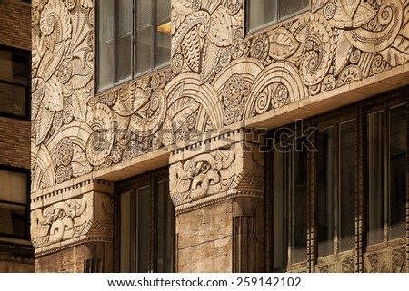 Close up detail of the architectural decoration on the Chanin Building New York - stock photo