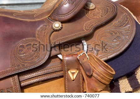 Close up detail of Western Horse Saddle
