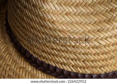 Close up detail showing a light brown summer straw hat with brown hat band - stock photo