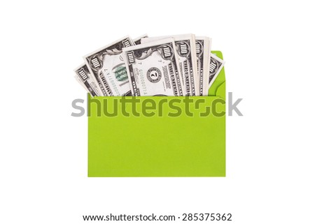 Close up detailed top view of heap of one hundred dollar banknotes inside envelope, isolated on white background. - stock photo