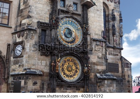 Close up detailed view of historical Astronomical Clock at old town square in Prague. - stock photo