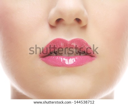 Close-up details of a woman's face - the nose and mouth - stock photo