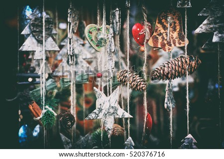 close up details of christmas markets. Christmass tree decorations. Vienna, Austria