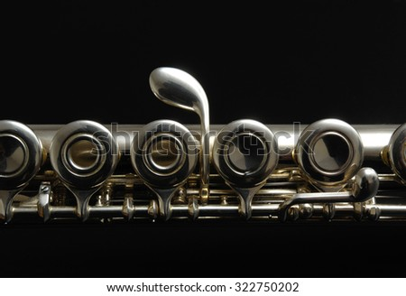 Close up details of clarinet. Color photography. - stock photo