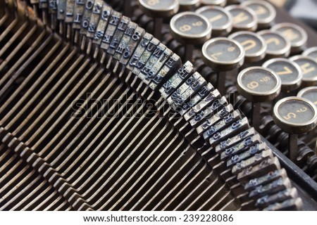 close up details of old  vintage typewriter - stock photo