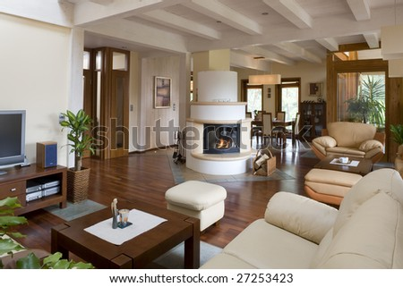 Close up details of stylish modern living room with fireplace. - stock photo