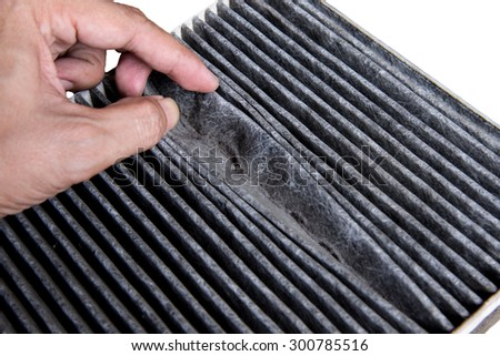 Close up dirty car air conditioner filter