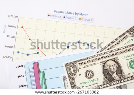 Close up dollars on financial paper graphs - stock photo