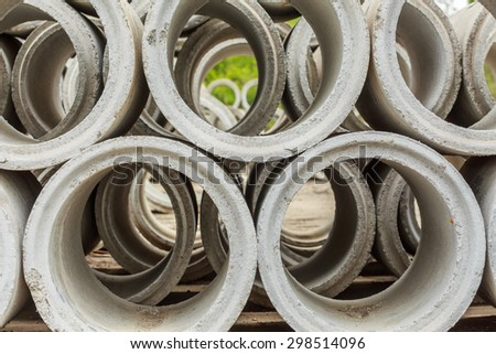 Close up Drainage pipes, concrete - stock photo