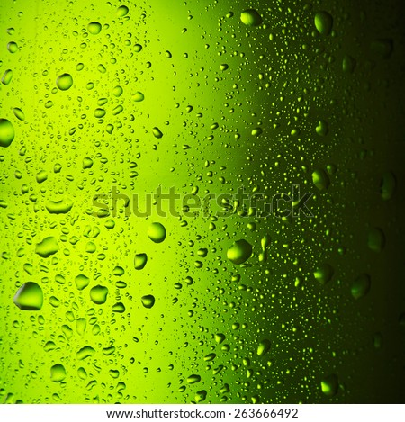Close up drops of a ice cold bottle of Beer - stock photo