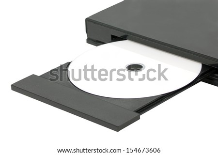 Close up DVD In Open Tray. - stock photo