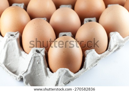 Close up eggs in the package - stock photo