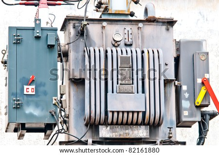 Close up Electrical power transformer  in Thailand - stock photo
