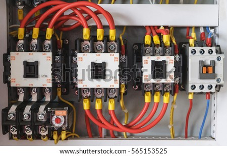 closeup electrical wiring fuses contactors stock photo edit now rh shutterstock com Electric Hoist Wiring-Diagram electrical contactor wiring diagram pdf