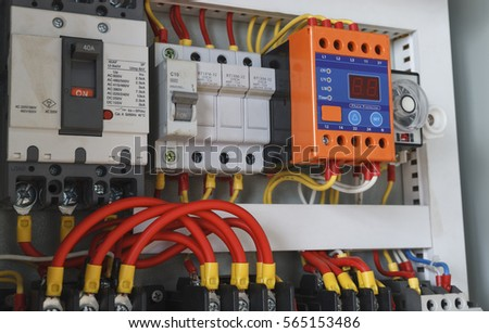 Close-up electrical wiring with timer and contactors. : panel electrical wiring - yogabreezes.com