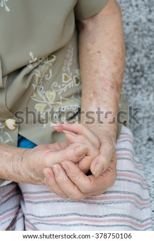 Close-up Elegant elderly woman skin and hand  , shallow dof
