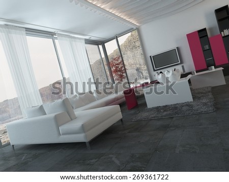 Close up Elegant Modern Architectural Living Room with White and Dark Pink Furniture. 3d Rendering. - stock photo