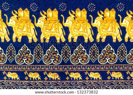 Close up elephant  decorative pattern batik fabric - stock photo