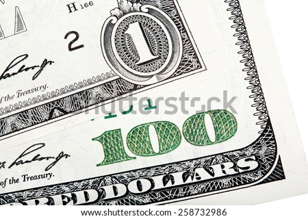 Close-up end stacked photo of one dollar and hundred-dollar bill background.