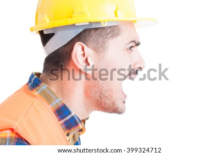 Close-up engineer portrait shouting out loud and showing rage as frustration and irritation concept isolated on white background - stock photo