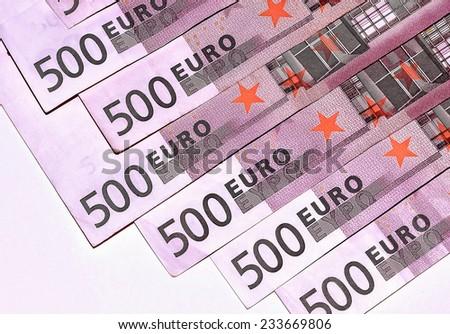 Close-Up Euro Banknotes 500 - stock photo
