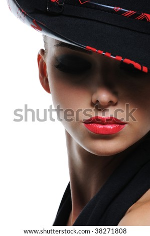 Close-up expressive portrait of glamour fashionable woman with bright red sexy lips - stock photo