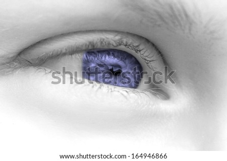 Close-up eye of a woman with colored pupil - stock photo