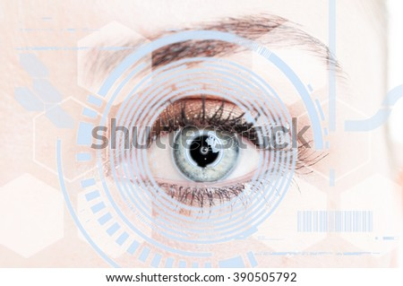 Close-up eye with digital retina protection as futuristic security system concept - stock photo