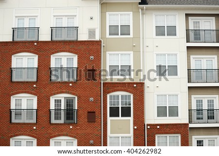 close up facade view of apartment building