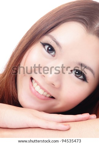 close up Face of Asian female smiling on white background - stock photo