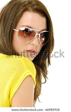 Close up fashion model wearing the modern sunglasses. - stock photo