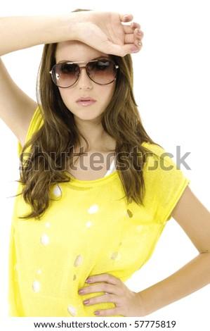 Close up fashion model with modern sunglasses - stock photo