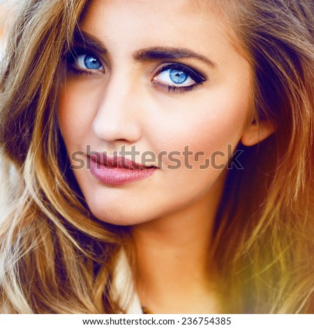 Close Fashion Portrait Blonde Sexy Girl Stock Photo
