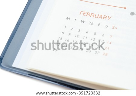 Close up February in diary on white background. - stock photo