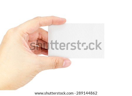 Close up Female hand holding white blank business card isolated on white background,Included clipping path - stock photo