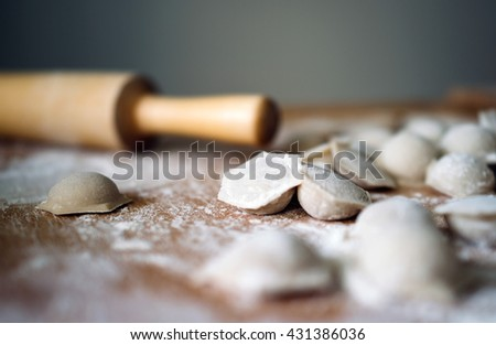 Close up focus ready tasty raviolis or dumplings filled with minced meat on flour, wooden board - stock photo