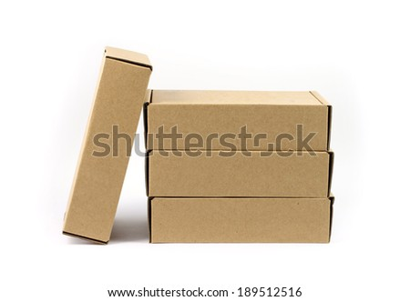 close up four brown box  with white background