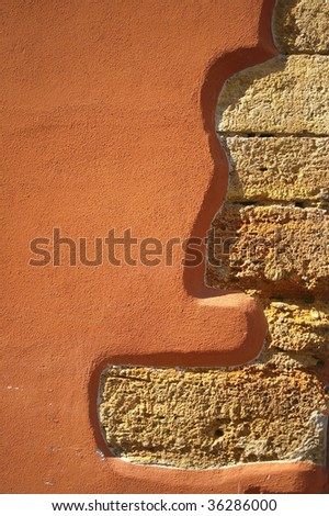 Close-up fragment of old house