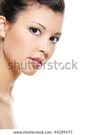 Close-up fresh face of a beauty asian woman isolated on white - stock photo