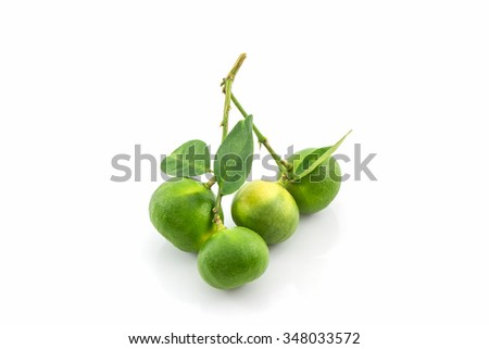 Close up fresh limes on white background