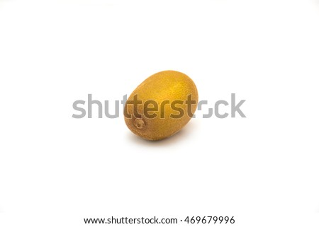 Close-up fresh raw whole New Zealands golden kiwi isolated on white background. Imported yellow sun gold kiwi for healthy diet. Food concept with clipping path and copy space.