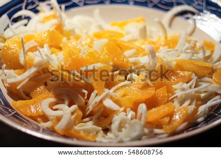 close up fresh salad of oranges and fennel