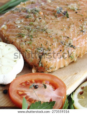 Close up  fresh salted salmon fillet with spices - stock photo