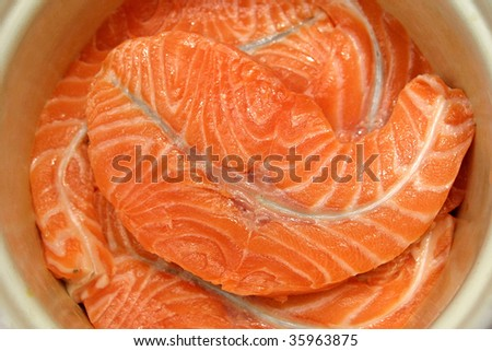 Close-up fresh slices of salmon fillet - stock photo