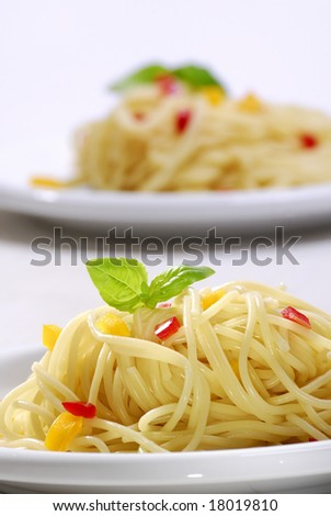 close-up from a plate with spaghetti