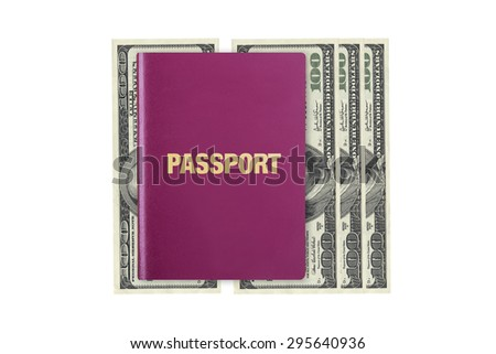 Close up front view of a passport, on one hundred dollar banknotes, isolated on white background. - stock photo