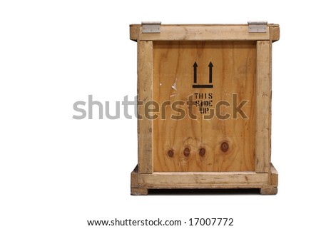 Close-up front view of a wooden crate, isolated on a white background. - stock photo